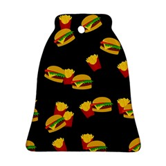 Hamburgers And French Fries Pattern Bell Ornament (two Sides) by Valentinaart