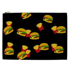Hamburgers And French Fries Pattern Cosmetic Bag (xxl)  by Valentinaart
