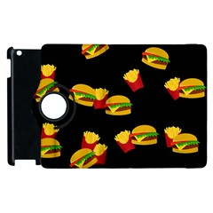Hamburgers And French Fries Pattern Apple Ipad 2 Flip 360 Case by Valentinaart