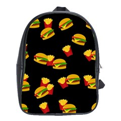 Hamburgers And French Fries Pattern School Bags (xl)  by Valentinaart