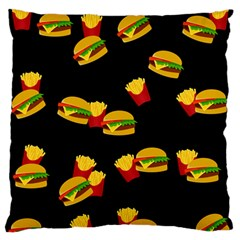 Hamburgers And French Fries Pattern Standard Flano Cushion Case (one Side) by Valentinaart