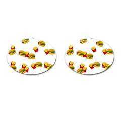 Hamburgers And French Fries  Cufflinks (oval) by Valentinaart