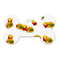 Hamburgers And French Fries  Dog Tag Bone (two Sides) by Valentinaart