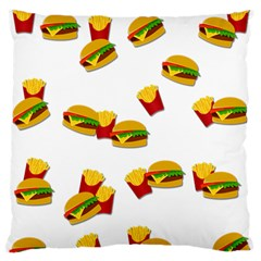 Hamburgers And French Fries  Large Flano Cushion Case (one Side) by Valentinaart