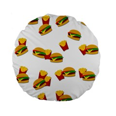 Hamburgers and french fries  Standard 15  Premium Flano Round Cushions by Valentinaart