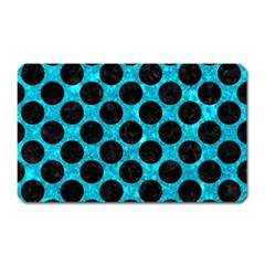 Circles2 Black Marble & Turquoise Marble (r) Magnet (rectangular) by trendistuff