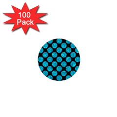Circles2 Black Marble & Turquoise Marble 1  Mini Button (100 Pack)