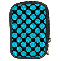 Circles2 Black Marble & Turquoise Marble Compact Camera Leather Case by trendistuff