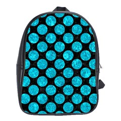 Circles2 Black Marble & Turquoise Marble School Bag (large) by trendistuff