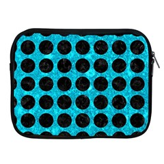 Circles1 Black Marble & Turquoise Marble (r) Apple Ipad Zipper Case by trendistuff
