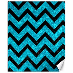 Chevron9 Black Marble & Turquoise Marble (r) Canvas 16  X 20
