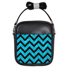 Chevron9 Black Marble & Turquoise Marble (r) Girls Sling Bag by trendistuff