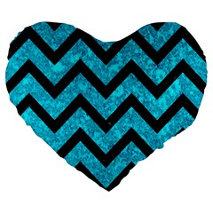 Chevron9 Black Marble & Turquoise Marble (r) Large 19  Premium Flano Heart Shape Cushion by trendistuff
