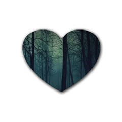 Dark Forest Rubber Coaster (heart)  by Brittlevirginclothing