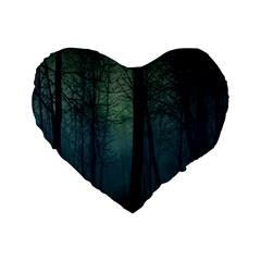 Dark Forest Standard 16  Premium Flano Heart Shape Cushions by Brittlevirginclothing