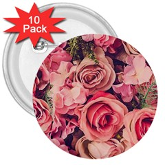Beautiful Pink Roses 3  Buttons (10 Pack)  by Brittlevirginclothing