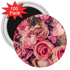 Beautiful Pink Roses 3  Magnets (100 Pack) by Brittlevirginclothing
