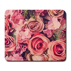 Beautiful Pink Roses Large Mousepads by Brittlevirginclothing