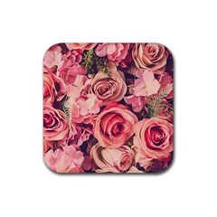 Beautiful Pink Roses Rubber Square Coaster (4 Pack)  by Brittlevirginclothing