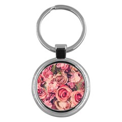 Beautiful Pink Roses Key Chains (round)  by Brittlevirginclothing