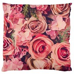 Beautiful Pink Roses Large Cushion Case (one Side) by Brittlevirginclothing