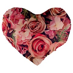 Beautiful Pink Roses Large 19  Premium Flano Heart Shape Cushions by Brittlevirginclothing