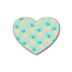 Pineapple Rubber Coaster (heart)  by Brittlevirginclothing