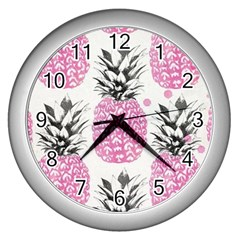 Pink Pineapple Wall Clocks (silver)  by Brittlevirginclothing