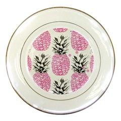 Pink Pineapple Porcelain Plates by Brittlevirginclothing