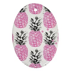 Pink Pineapple Oval Ornament (two Sides) by Brittlevirginclothing