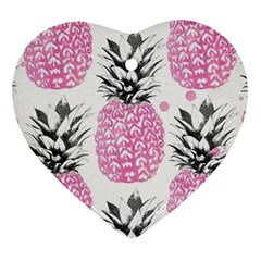 Pink Pineapple Heart Ornament (two Sides) by Brittlevirginclothing