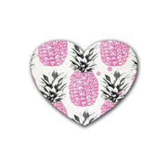 Pink Pineapple Rubber Coaster (heart)  by Brittlevirginclothing