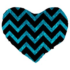 Chevron9 Black Marble & Turquoise Marble Large 19  Premium Flano Heart Shape Cushion by trendistuff