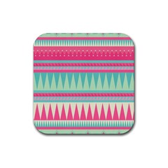 ¨pink Bohemian Rubber Coaster (square)  by Brittlevirginclothing