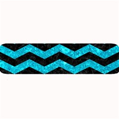 Chevron3 Black Marble & Turquoise Marble Large Bar Mat by trendistuff