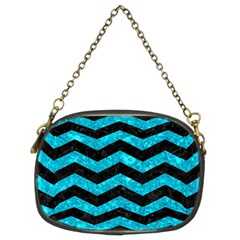 Chevron3 Black Marble & Turquoise Marble Chain Purse (two Sides) by trendistuff