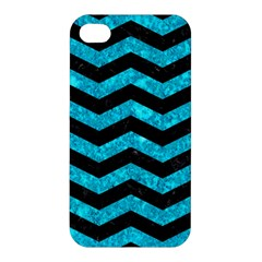 Chevron3 Black Marble & Turquoise Marble Apple Iphone 4/4s Hardshell Case by trendistuff