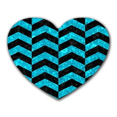 Chevron2 Black Marble & Turquoise Marble Heart Mousepad by trendistuff