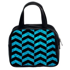 Chevron2 Black Marble & Turquoise Marble Classic Handbag (two Sides) by trendistuff