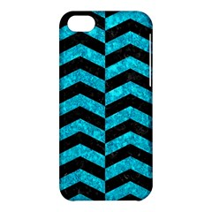 Chevron2 Black Marble & Turquoise Marble Apple Iphone 5c Hardshell Case by trendistuff