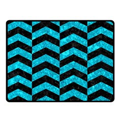 Chevron2 Black Marble & Turquoise Marble Double Sided Fleece Blanket (small) by trendistuff