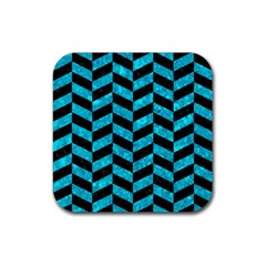 Chevron1 Black Marble & Turquoise Marble Rubber Square Coaster (4 Pack) by trendistuff