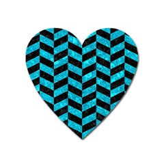 Chevron1 Black Marble & Turquoise Marble Magnet (heart) by trendistuff