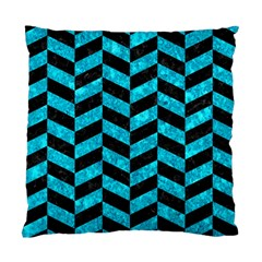 Chevron1 Black Marble & Turquoise Marble Standard Cushion Case (one Side) by trendistuff