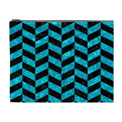 Chevron1 Black Marble & Turquoise Marble Cosmetic Bag (xl)