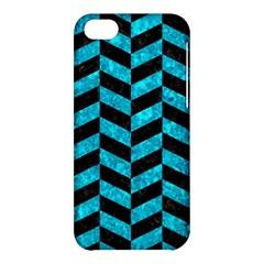 Chevron1 Black Marble & Turquoise Marble Apple Iphone 5c Hardshell Case by trendistuff