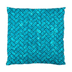 Brick2 Black Marble & Turquoise Marble (r) Standard Cushion Case (one Side) by trendistuff