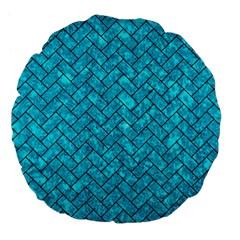 Brick2 Black Marble & Turquoise Marble (r) Large 18  Premium Flano Round Cushion  by trendistuff