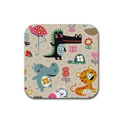 Cute Cartoon Rubber Square Coaster (4 Pack)  by Brittlevirginclothing