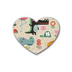 Cute Cartoon Rubber Coaster (heart)  by Brittlevirginclothing